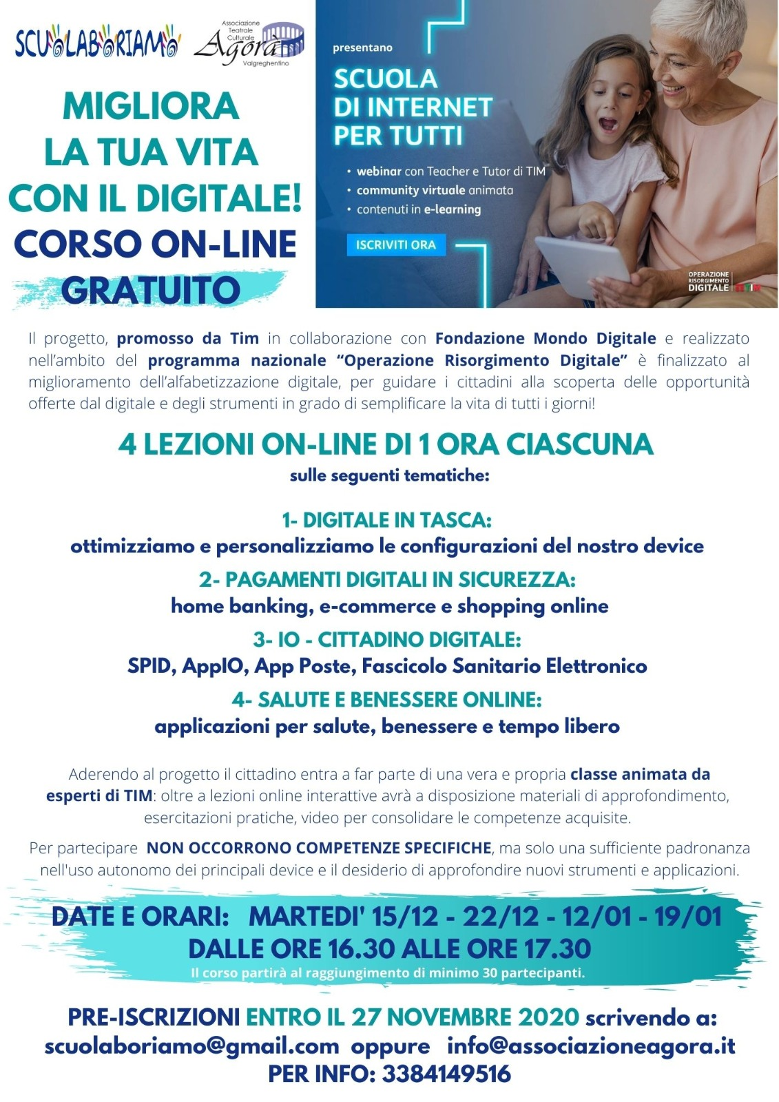Scuolaboriamo E Agora Al Via Il Corso On Line Gratuito La Scuola Di Internet Per Tutti Lecco Notizie