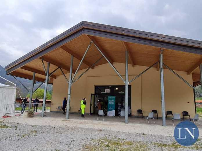 Il centro vaccinale allestito a Barzio