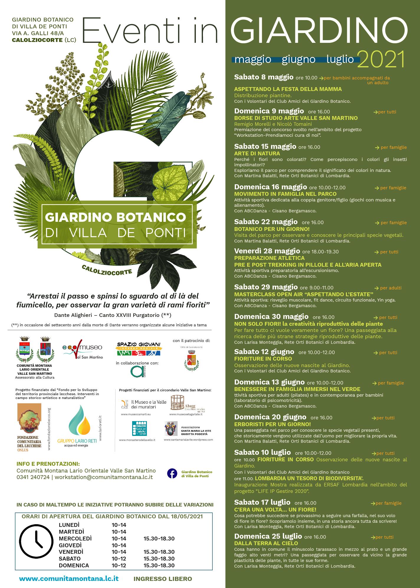 Eventi Giardino Botanico Villa De Ponti