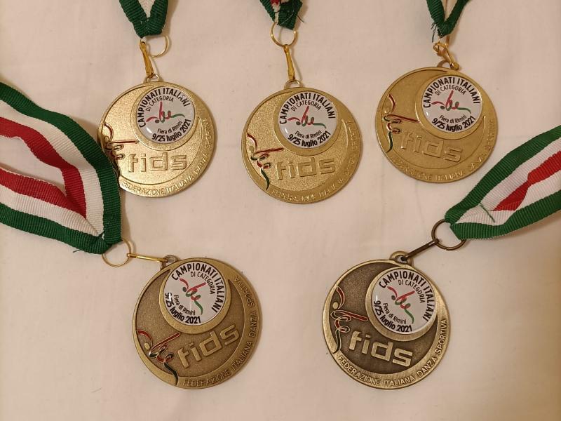 Le cinque medaglie vinte al campionato italiano